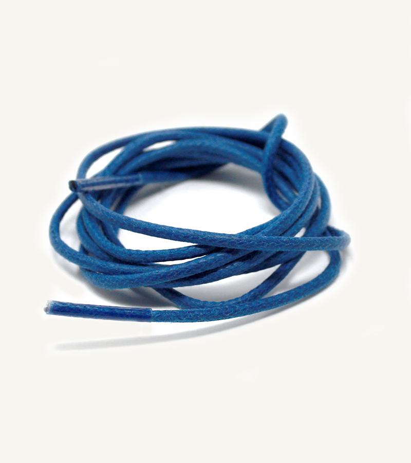 Lacets ronds et fins cirés, bleu myrtille - 3