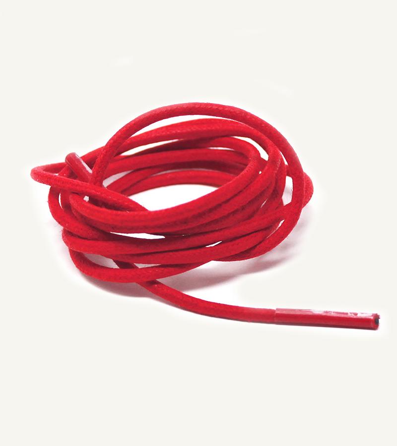 Lacets ronds et fins cirés, rouge feu - 3