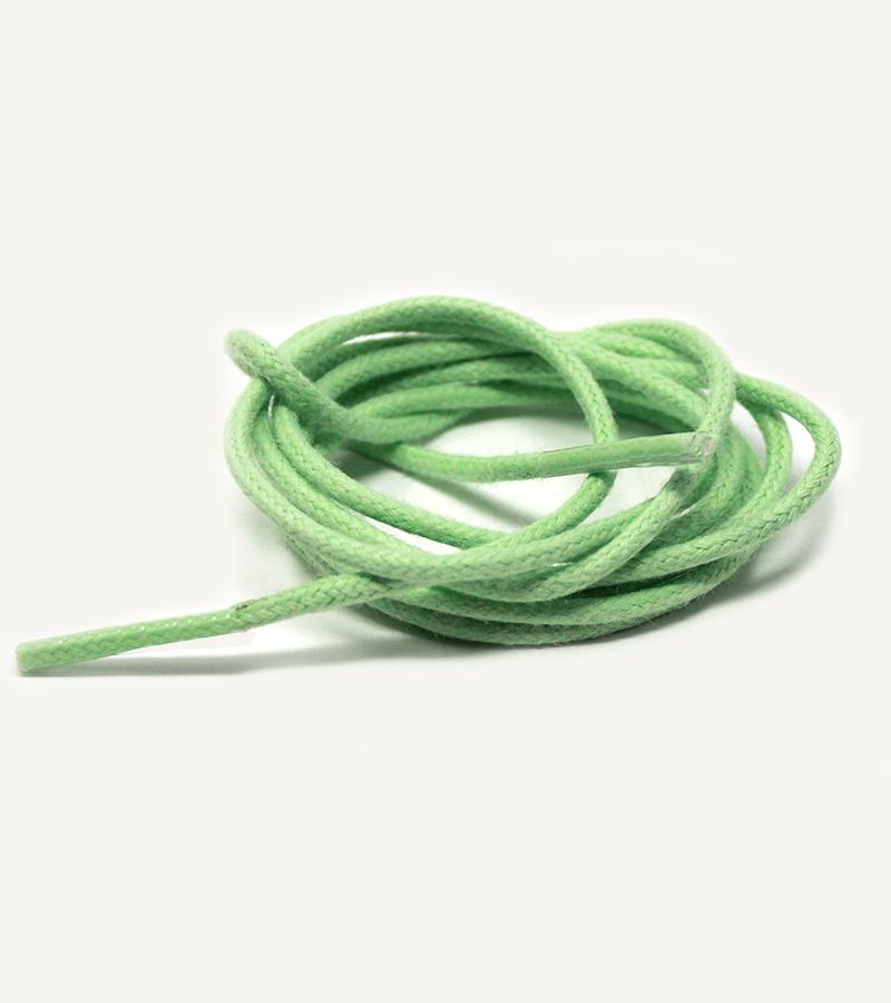 Lacets ronds et fins cirés, vert pistache - 3
