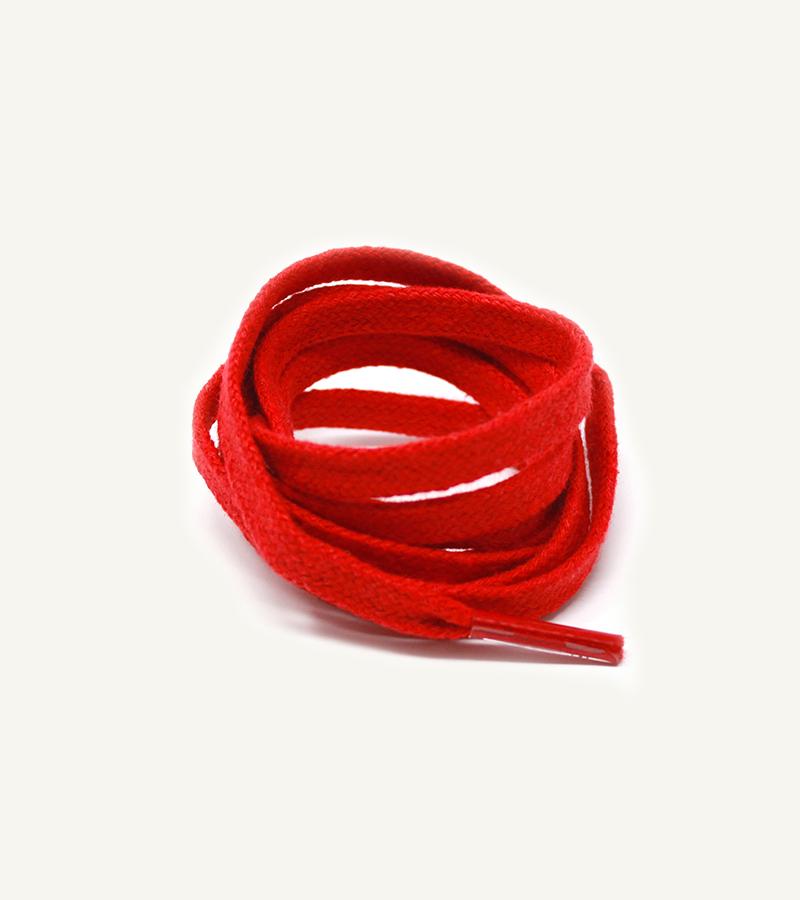 Lacets plats et larges, rouge fraise - 3