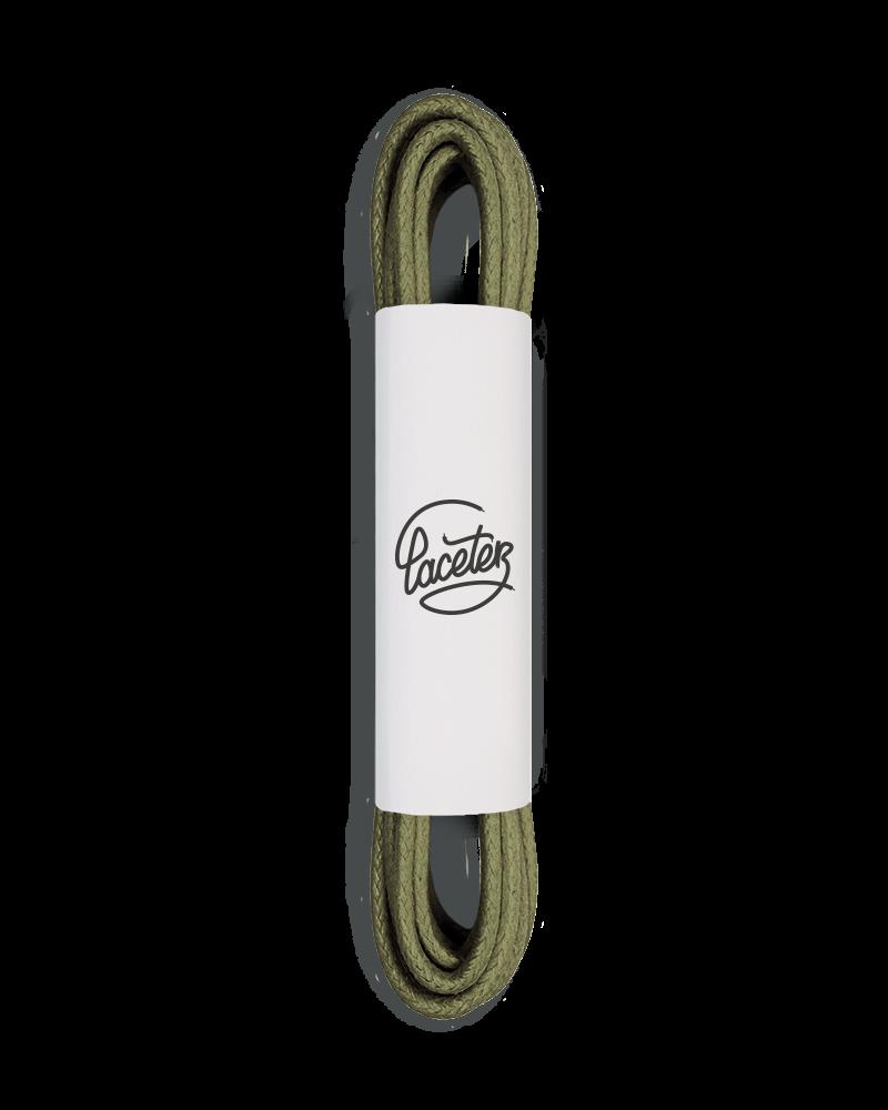 Lacets ronds et fins cirés, vert olive - 1
