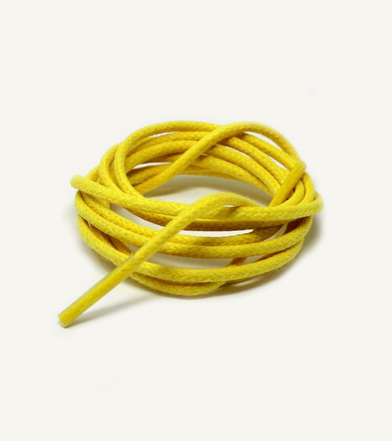 Lacets ronds et fins cirés, jaune citron - 3