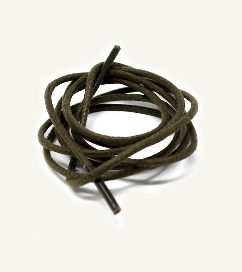 Lacets ronds et fins cirés, vert olive - 3